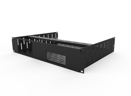 Penn Elcom 2U Rack Shelf Faceplate Cut Out For 1 x Sonos Bridge and 1 x Connect R1498/2UK-S90B1  - Click to view a larger image
