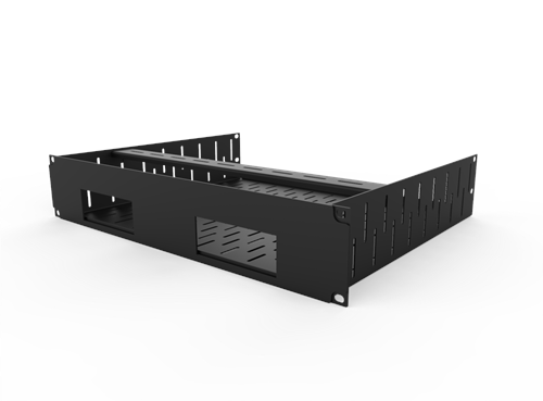 Penn Elcom 2U Rack Shelf Faceplate Cut Out For 2 x Sonos Bridge  - Click to view a larger image