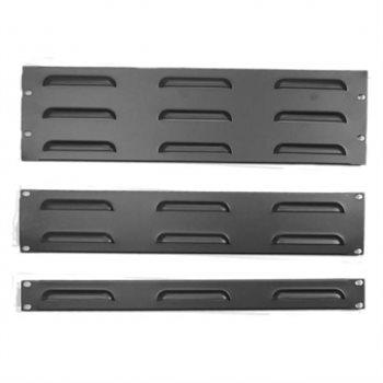 Penn Elcom 1U Rack Panel Steel Flanged Louvre Black R1268/1UVK