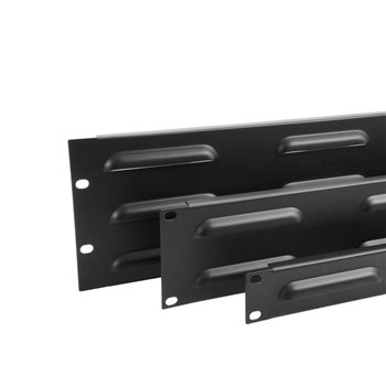 Penn Elcom 2U Rack Panel Steel Flanged Louvre Black R1268/2UVK  - Click to view a larger image