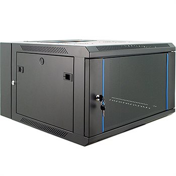 Penn Elcom 6U Wall Rack Double Section 600mm/23.62 Inch Deep Glass Door DW-6606BK  - Click to view a larger image