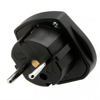 Powerconnections 9906 Travel Adapter Black 240V 10Amp UK 3-pin to Euro 2 Pin 9906--B