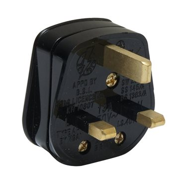 Powerconnections Mains Plug Blk fitted with 13 Amp Fuse Screw Cable Clamp PA330