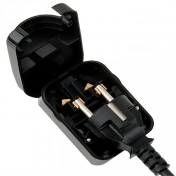 Powerconnections SCP3 UK Plug Blk Converter 5A for 3 Pin Schuko with Earth SCP3-BK-R-5A