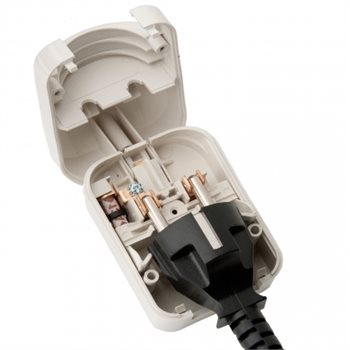 Powerconnections SCP UK Plug Wh Converter 5A for 3 Pin Schuko no earth SCP-WH-R-5A