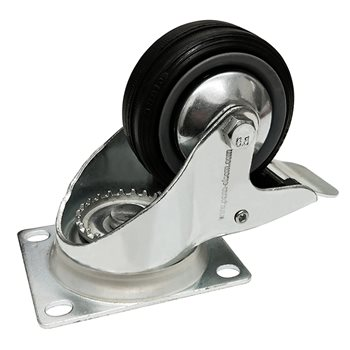 Penn Elcom Castor 80mm (3in) Swivel-Brake Black Wheel 60Kg W0980/B  - Click to view a larger image