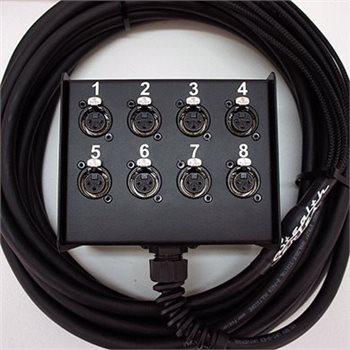 Penn Elcom Penn Elcom 50M 8-Kanal Multicore Stage Box, Stealth-Serie, metallbewehrte Kabel