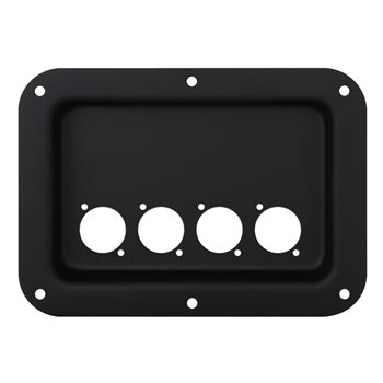Penn Elcom Recess Dish Punched for 4 x D-Series Connectors Black D024K  - Click to view a larger image