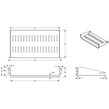 "Penn Elcom 2U Rack Shelf 250mm/9.84"" Deep C2-R1194/2UK-250  - Click to view a larger image"