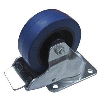 "Penn Elcom 100mm/3.94""  Heavy Duty Blue Castor Swivel Braked W9008-V6  - Click to view a larger image"