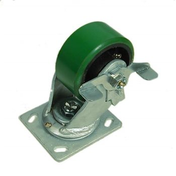 "Penn Elcom 100mm/3.94"" Heavy Duty Braked Swivel Castor Green Wheel W0999/B  - Click to view a larger image"