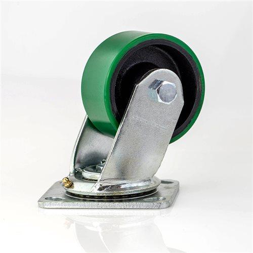 """Penn Elcom 100mm/3.94"""" Heavy Duty Swivel Castor Green Wheel W0999  - Haga Clic para ver una Imagen más grande"""