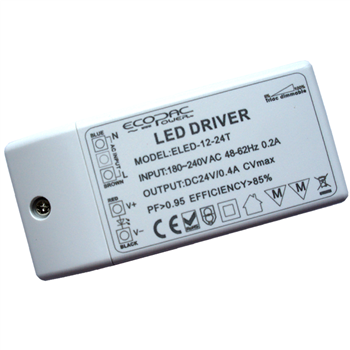 Ecopac UK ELED-12-24T 9.6W Mains (Triac) Dimmable constant voltage LED driver 24V IP20 LEDMD1224  - Click to view a larger image