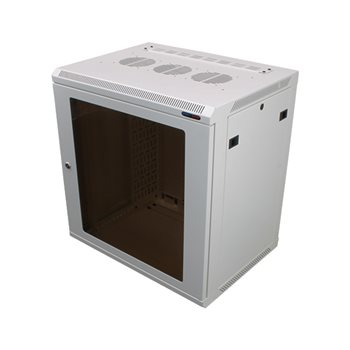 Penn Elcom Wall Mount Rack Enclosure 12U 450mm/17.72 Inch Deep 1032 Rack Rail White Glass Door R6412W-1032  - Click to view a larger image