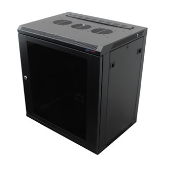 Penn Elcom Wall Mount Rack Enclosure 12U 450mm/17.72 Inch Deep M6 Rack Rail Black Glass Door R6412-M6  - Click to view a larger image
