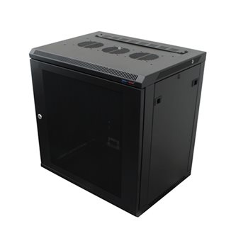 Penn Elcom Wall Mount Rack Enclosure 12U 450mm/17.72 Inch Deep 1032 Rack Rail Black Perforated Door R6412V-1032  - Click to view a larger image