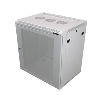 Penn Elcom Wall Mount Rack Enclosure 12U 450mm/17.72 Inch Deep M6 Rack Rail White Perforated Door R6412V-W-M6  - Click to view a larger image
