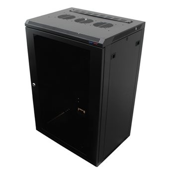 Penn Elcom Wall Mount Rack Enclosure 18U 450mm/17.72 Inch Deep 1032 Rack Rail Black Glass Door R6418-1032  - Click to view a larger image