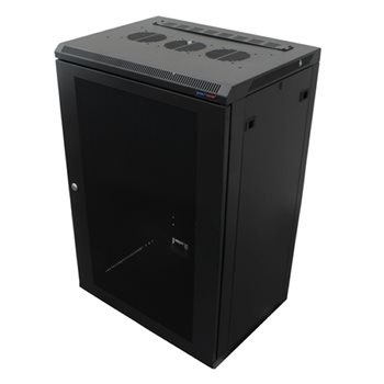 Penn Elcom Wall Mount Rack Enclosure 18U 450mm/17.72 Inch Deep 1032 Rack Rail Black Perforated Door R6418V-1032  - Click to view a larger image
