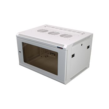 Penn Elcom Wall Mount Rack Enclosure 6U 450mm/17.72� Deep 1032 Rack Rail White Glass Door R6406W-1032  - Click to view a larger image