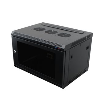 Penn Elcom Wall Mount Rack Enclosure 6U 450mm/17.72 Inch Deep M6 Rack Rail Black Glass Door R6406-M6  - Click to view a larger image