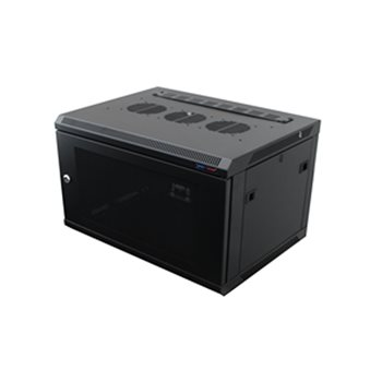 Penn Elcom Wall Mount Rack Enclosure 6U 450mm/17.72 Inch Deep 1032 Rack Rail Black Perforated Door R6406V-1032  - Click to view a larger image