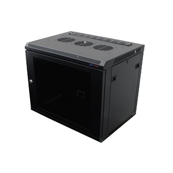 Penn Elcom Wall Mount Rack Enclosure 9U 450mm/17.72� Deep 1032 Rack Rail Black Glass Door R6409-1032  - Click to view a larger image