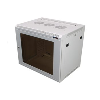 Penn Elcom Wall Mount Rack Enclosure 9U 450mm/17.72 Inch Deep M6 Rack Rail White Glass Door R6409W-M6  - Click to view a larger image
