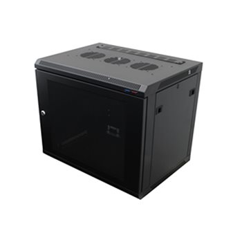 Penn Elcom Wall Mount Rack Enclosure 9U 450mm/17.72 Inch Deep 1032 Rack Rail Black Perforated Door R6409V-1032  - Click to view a larger image