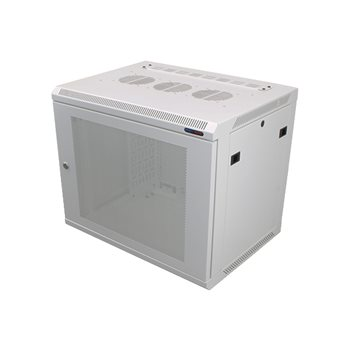 Penn Elcom Wall Mount Rack Enclosure 9U 450mm/17.72 Inch Deep 1032 Rack Rail White Perforated Door R6409V-W-1032  - Click to view a larger image