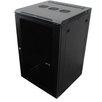"""Penn Elcom Penn Elcom 18HE 19"""" Rack 600mm, zur Wandaufhängung, M6, Schwarze Glastür   - Klicken Sie hier, um ein größeres Bild zu sehen"""
