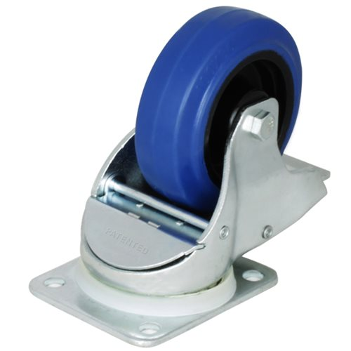 "Penn Elcom Braked Automatic Swivel Castor with 100mm/4"" Narrow Blue Wheel W0985  - Click to view a larger image"