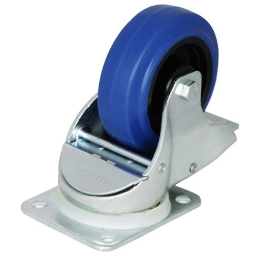 Penn Elcom Roulette Freinée Pivotante Automatique avec Bandage Bleu 100mm W0985  - Cliquez pour agrandir limage