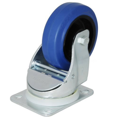 """Penn Elcom Automatic Swivel Castor with 100mm/4"""" Narrow Blue Wheel W0990  - Click to view a larger image"""