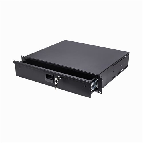 "Penn Elcom 2U Aluminium Rack Drawer Black 387mm / 14"" Deep R2294  - Click to view a larger image"