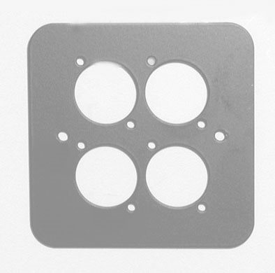Penn Elcom D/Plate Single S/Grey punched for 4 x  XLR Rounded Corners 82511-4RCS