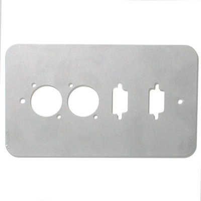 Penn Elcom Double Gang Plate Silver Punched for 2 x  XLR/2 x 15D Rounded Corners 84511-15D-RCS