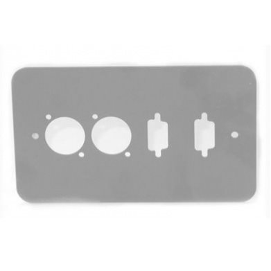 Penn Elcom Double Gang Plate Silver Punched for 2 x  XLR/2 x 9D Rounded Corners 84511-9D-RCS
