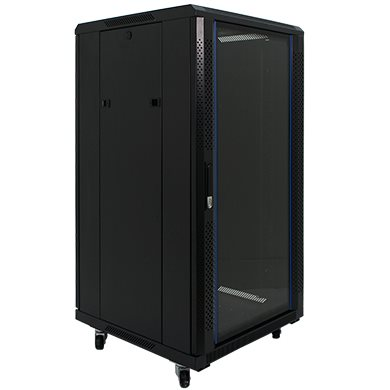 Penn Elcom 22U 19 Inch Server Rack Enclosure 600mm/23.62 Deep Glass Door EMS-6622BK