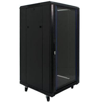 Penn Elcom 22U 19 Inch Server Rack Enclosure 800mm/31.5 Deep Glass Door EMS-6822BK