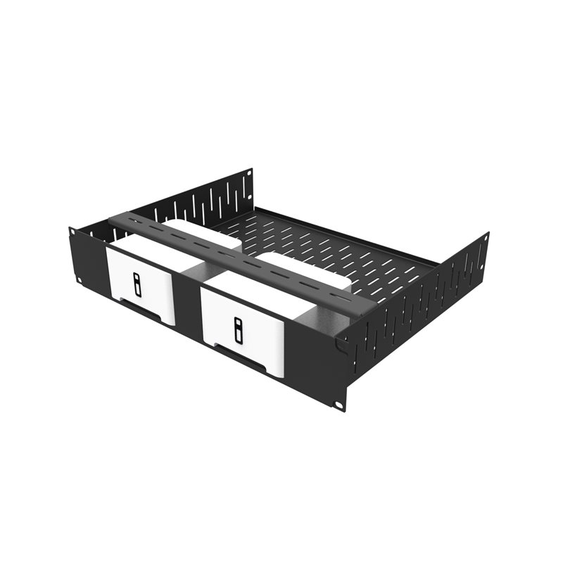 Penn Elcom 2U Rack Shelf & Faceplate Cut Out For 2 x Sonos Connect Units R1498/2UK-SONOS2