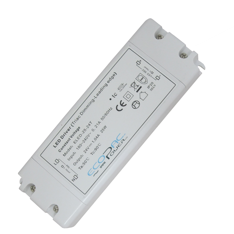 Ecopac UK ELED-25-24T 25 watt Mains (Triac) Dimmable constant voltage LED driver 24V IP20 ELED-25-24T