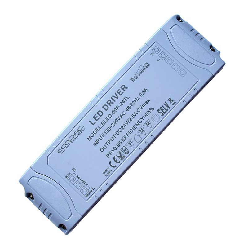 Ecopac UK ELED-60-24T 60 watt Mains (Triac) Dimmable constant voltage LED driver 24V IP20 LEDMD6024