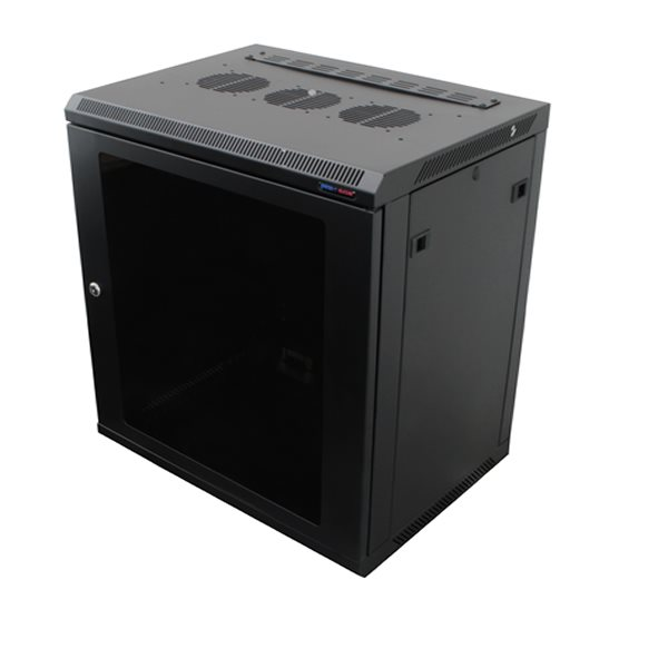 Penn Elcom Wall Mount Rack Enclosure 12U 450mm/17.72 Inch Deep 1032 Rack Rail Black Glass Door R6412-1032